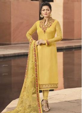 Drashti Dhami Satin Georgette Pakistani Straight Salwar Kameez