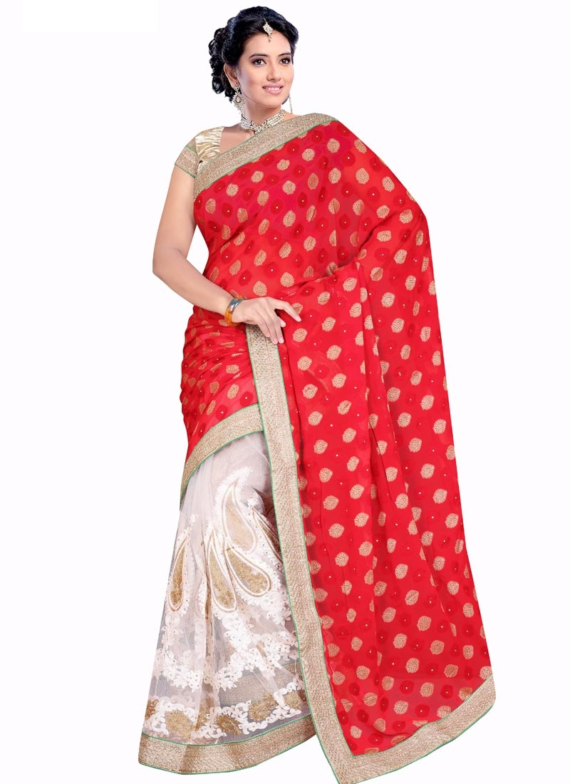 Elegant Beads Work Red Color Half N Half Designer Saree