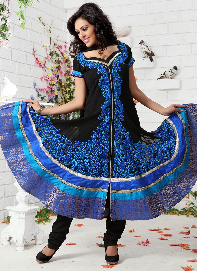 Elegant Blue And Black Readymade Salwar Suit