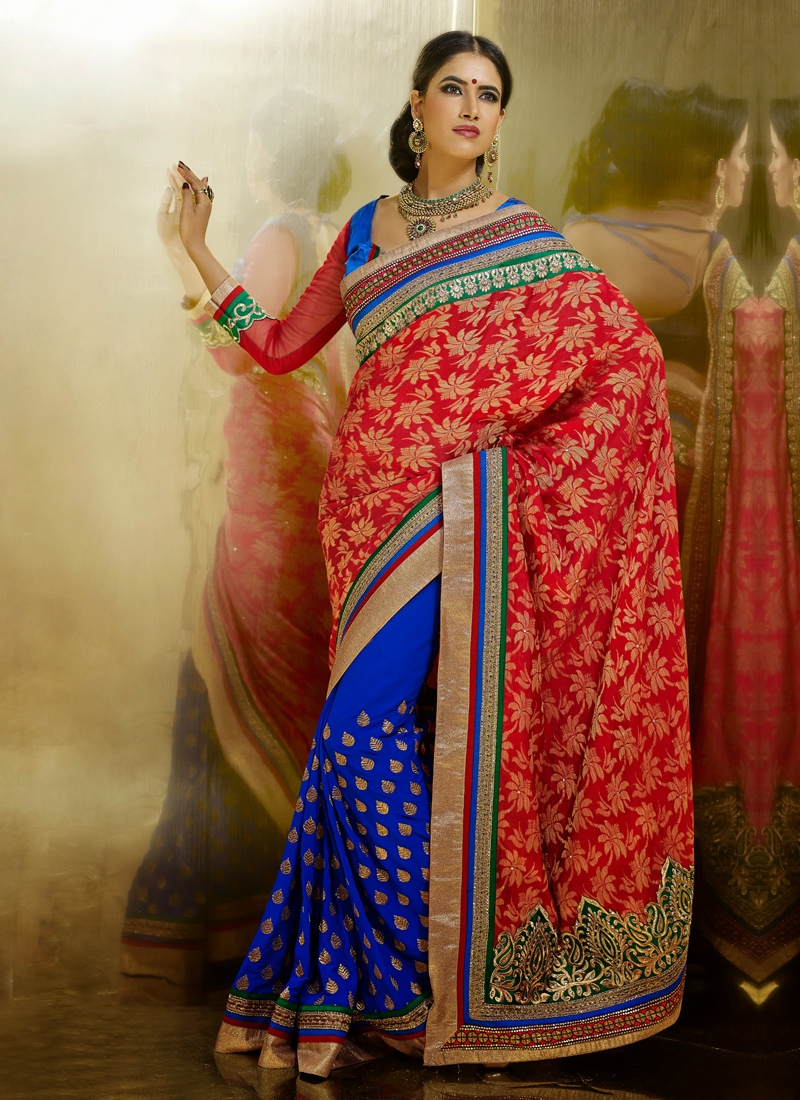 Elegant Blue And Coral Color Half N Half Saree