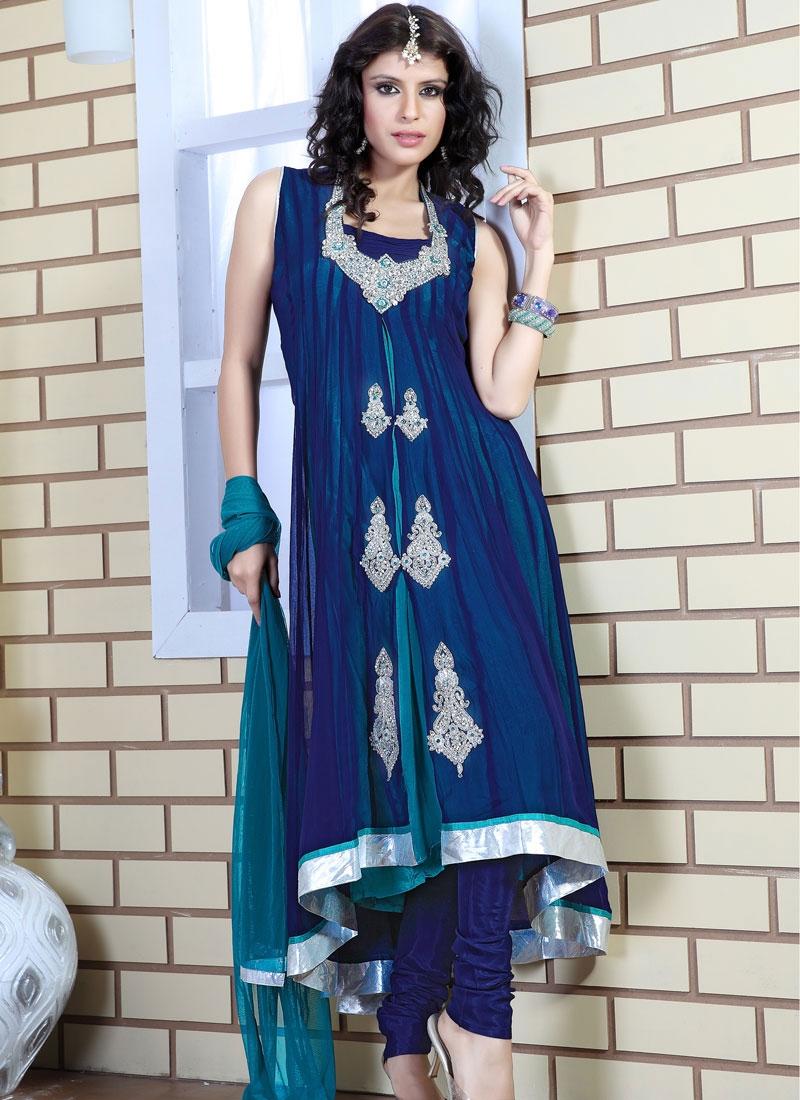 Elegant Blue And Teal Net Salwar Kameez