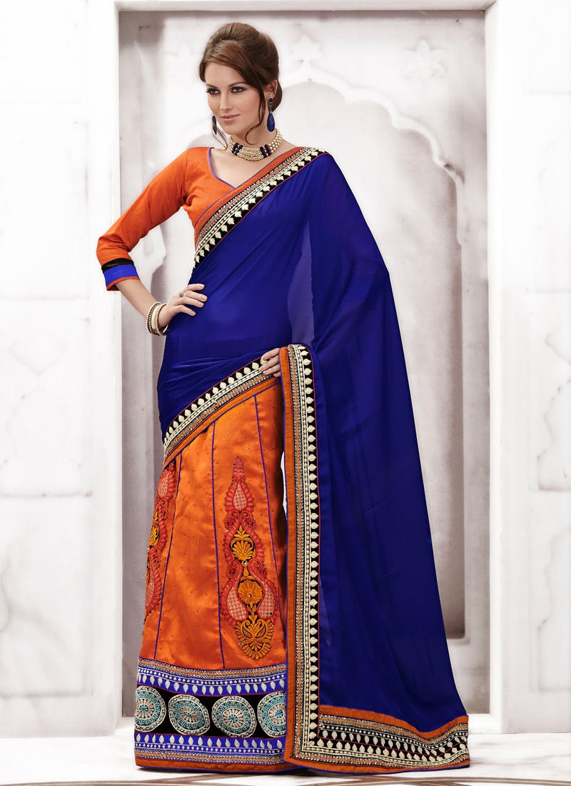 Elegant Booti And Stone Enhanced Lehenga Saree