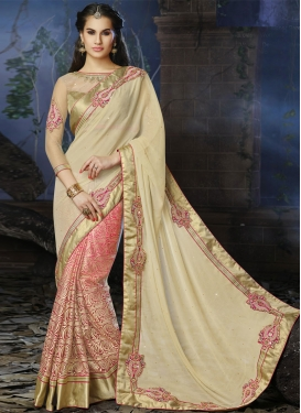 Elegant Booti And Stones Work Half N Half Wedding Saree
