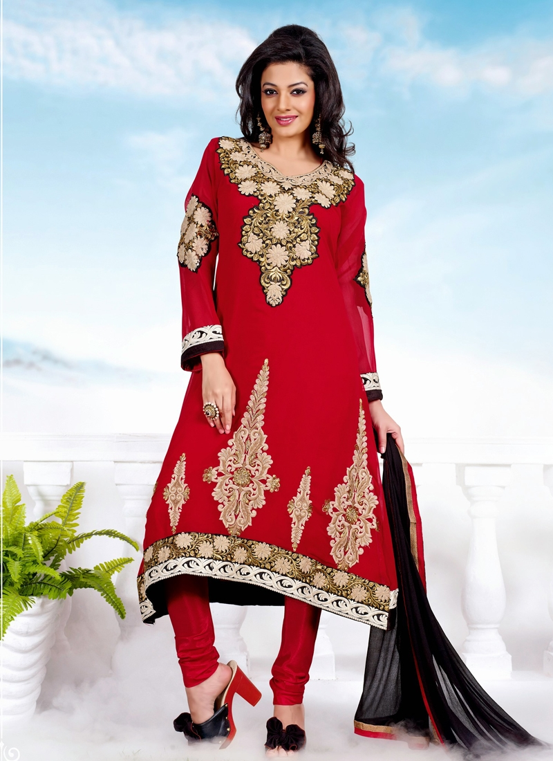 Elegant Booti Work Georgette Churidar Suit