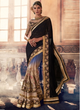 Elegant Booti Work Half N Half Designer Saree For Ceremonial
