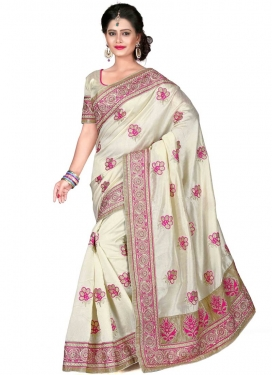 Elegant Booti Work Off White Color Designer Saree