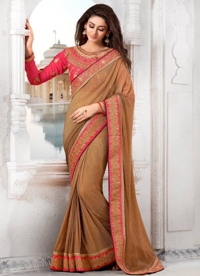 Elegant Brown Color Lycra Party Wear Saree