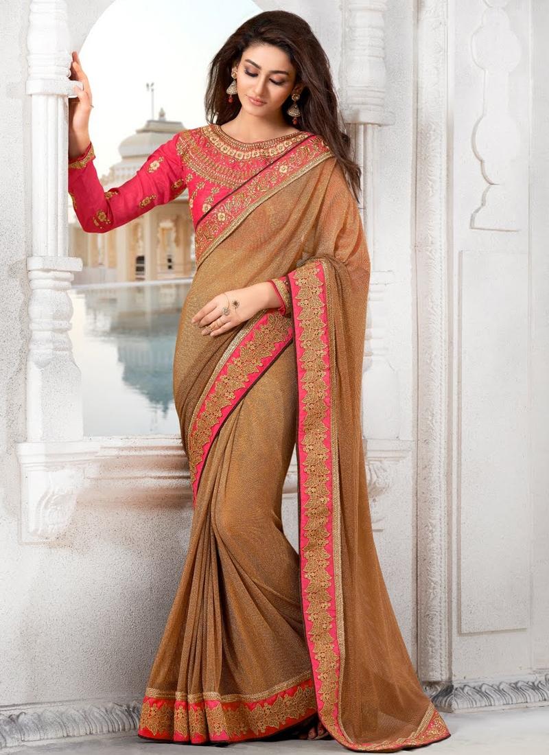 Elegant Brown Color Lycra Party Wear Saree