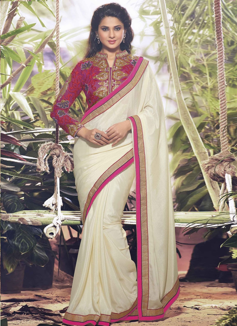 Elegant Cream Color Jennifer Winget Party Wear Saree