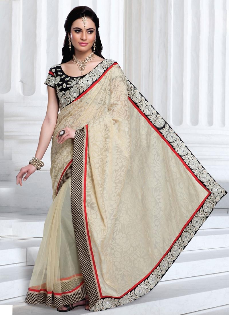 Elegant Cream Color Stone Work Party Wear Saree