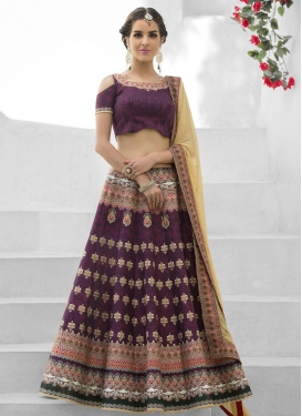 Elegant  Digital Print Work Silk Beige and Purple Trendy Lehenga Choli