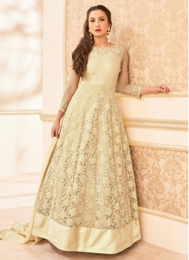 Elegant Gauhar Khan Net Embroidered Work Floor Length Anarkali Salwar Suit