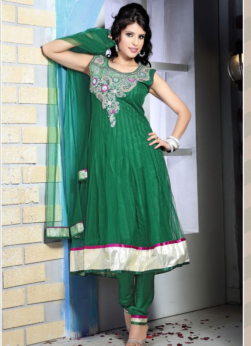 Elegant Green Anarkali Readymade Salwar Kameez