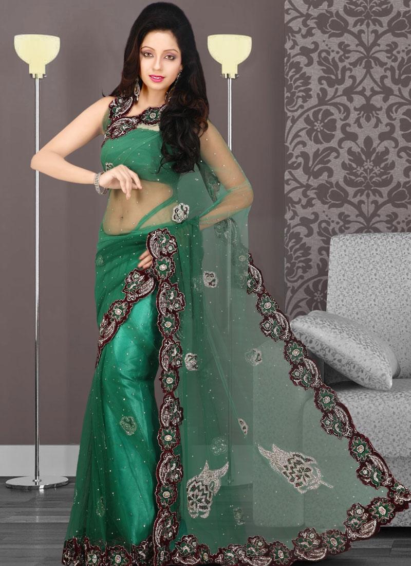Elegant Green Embroidered Net Saree