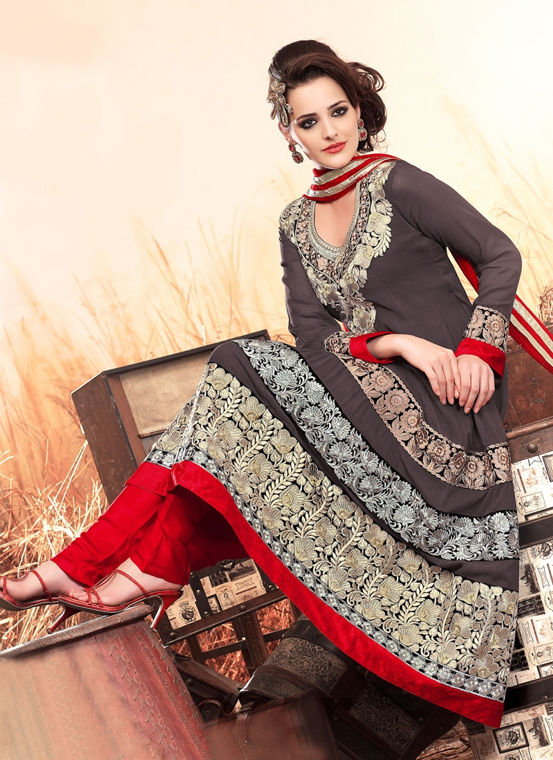 Elegant Grey And Red Party Wear Salwar Suit