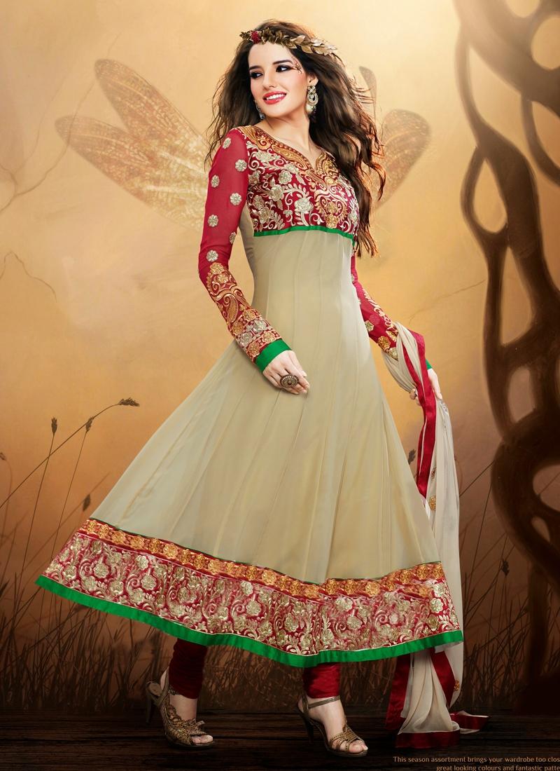 Elegant Multi And Patch Work Anarkali Salwar Kameez