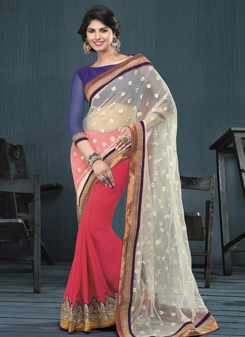 Elegant Net Resham Work Half N Half Party Wear Saree