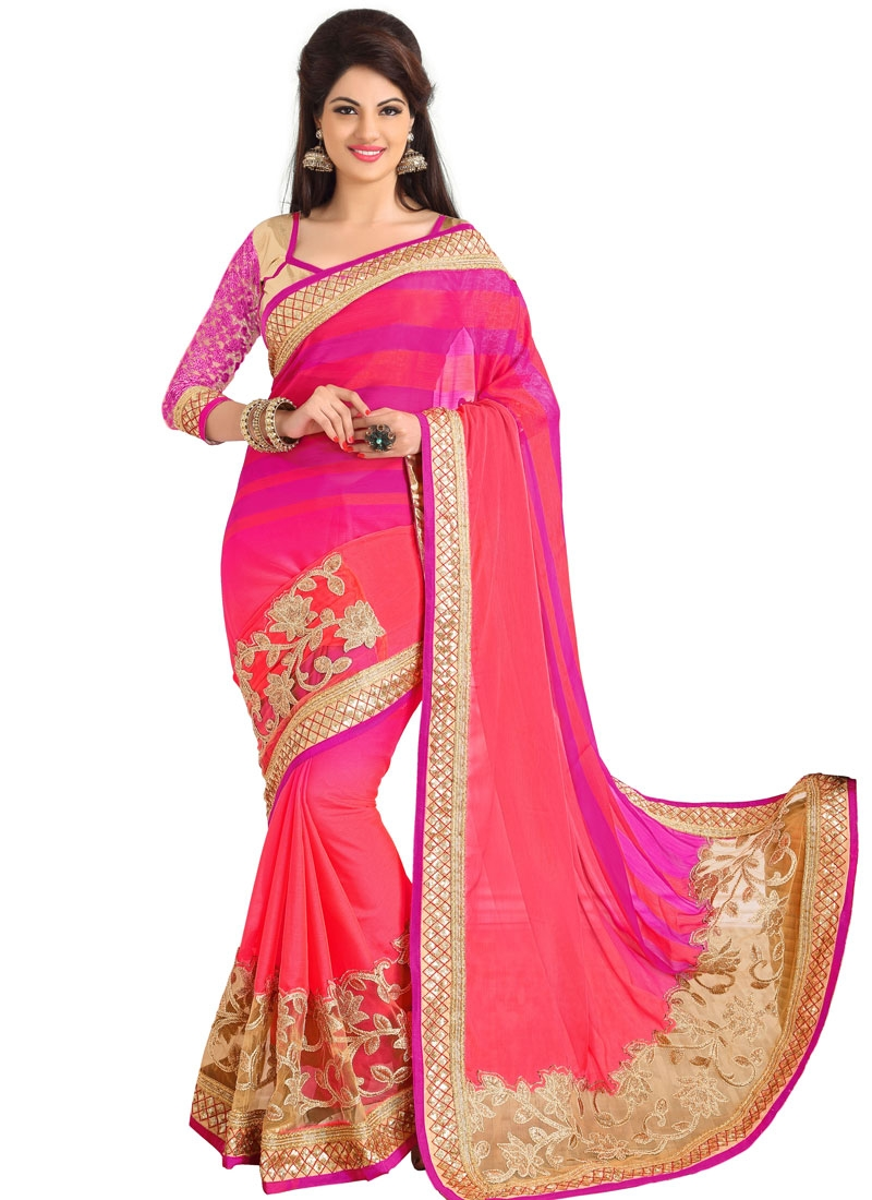 Elegant Patch Border Work Wedding Saree