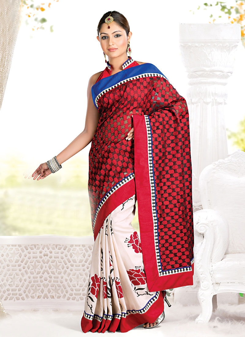 Elegant Red And White Half N Half Saree