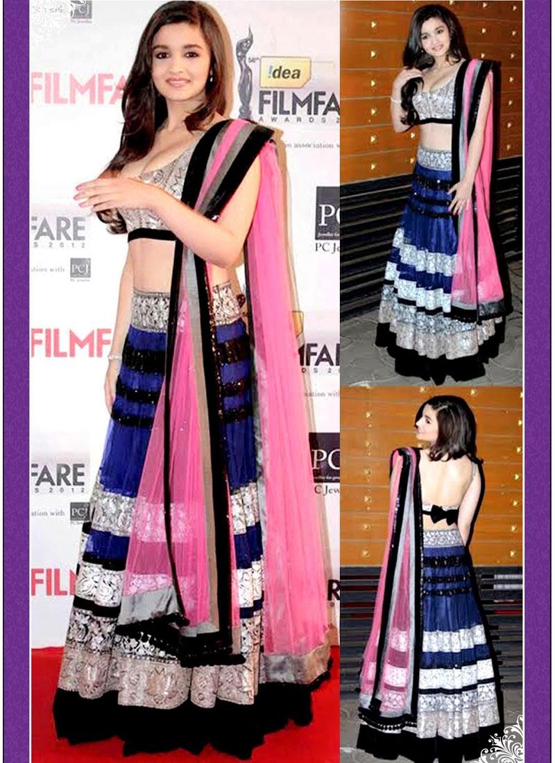 Elegant Resham And Lace Work Alia Bhatt Designer Lehenga Choli
