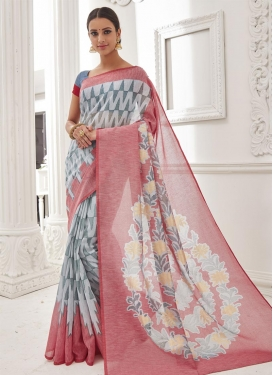 Elegant Thread Work Brasso Georgette Grey and Rose Pink Trendy Saree For Festival
