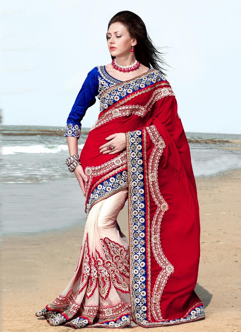 Elegant Velvet And Net Half N Half Saree