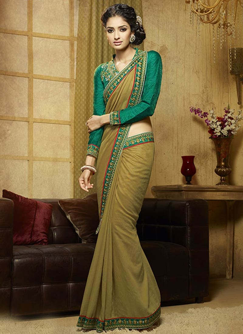Elegant Viscose Olive Color Party Wear Saree