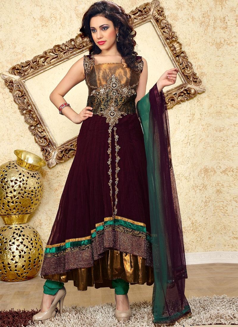 Elegant Wine And Teal Color Salwar Kameez