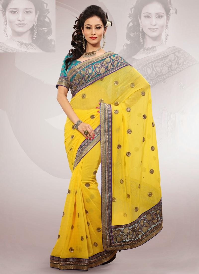 Elegant Yellow Color Chiffon Party Wear Saree