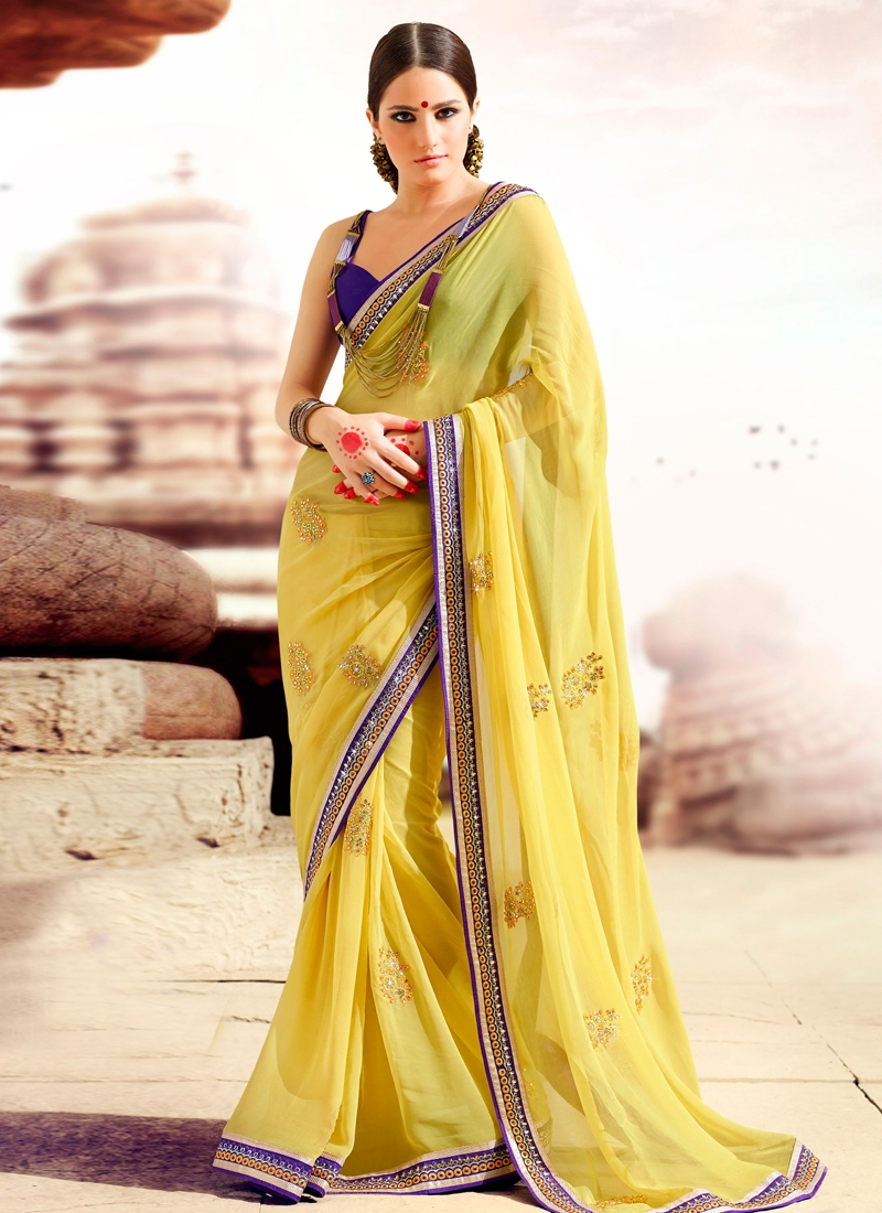 Elegant Yellow Color Georgette Party Wear Saree