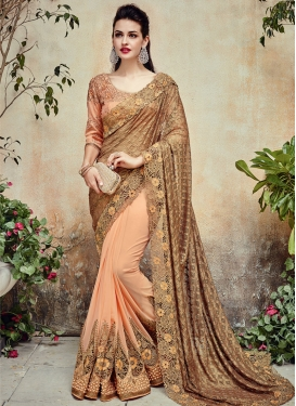 Elite Beige and Peach Beads Work Half N Half Designer Saree