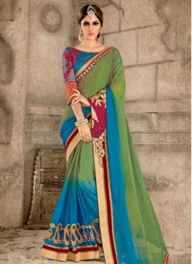 Elite Blue and Olive Chiffon Satin Classic Saree