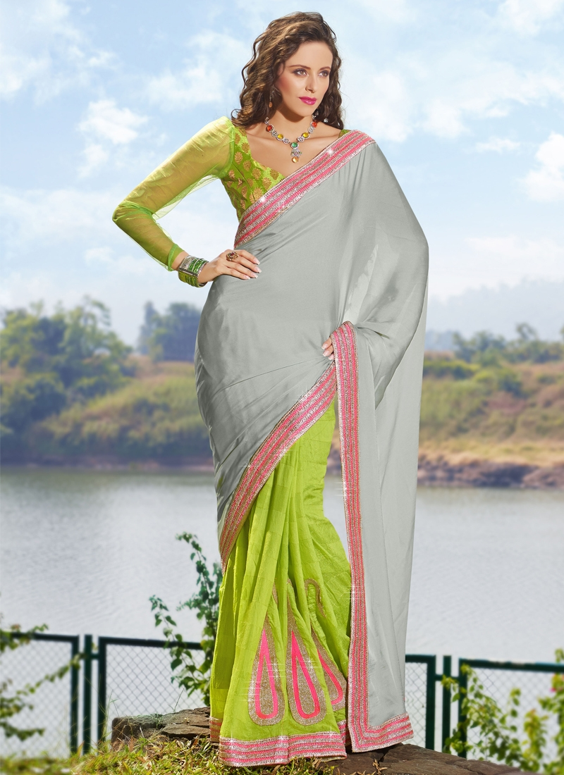 Elite Booti Enhanced Half N Half Saree