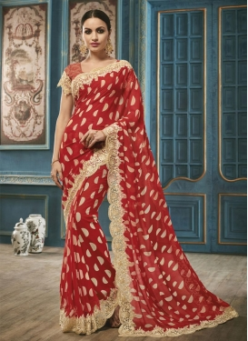 Elite  Embroidered Work Faux Georgette Traditional Saree For Ceremonial