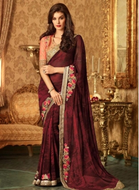 Elite Faux Georgette Embroidered Work Traditional Saree