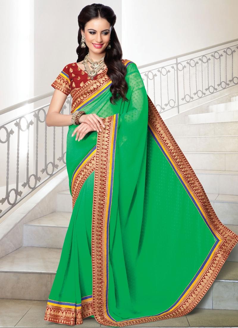 Elite Green Color Faux Georgette Party Wear Saree