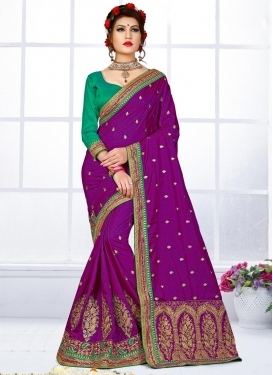Elite Jacquard Silk Embroidered Work Contemporary Style Saree