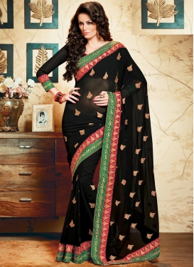Elite  Lace Work Faux Chiffon Trendy Classic Saree For Ceremonial