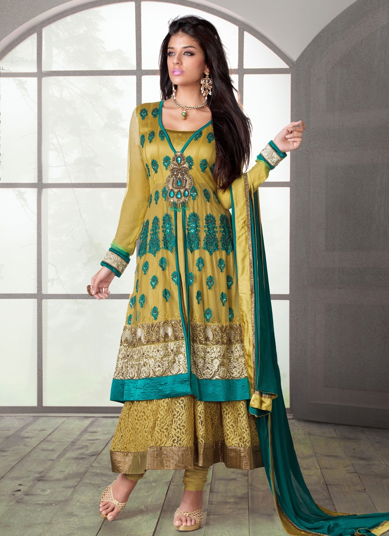 Elite Multi And Gold Zardosi Work Designer Salwar Suit