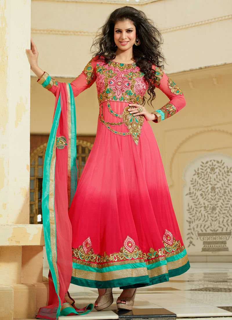 Elite Red And Salmon Wedding Salwar Kameez