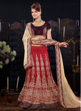 Elite Red Color Booti And Beads Work Wedding Lehenga Choli