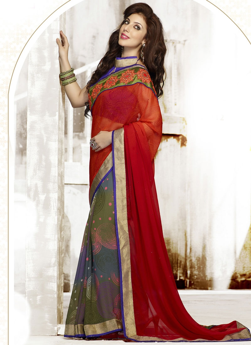 Elite Red Color Lace Work Half N Half Casual Saree