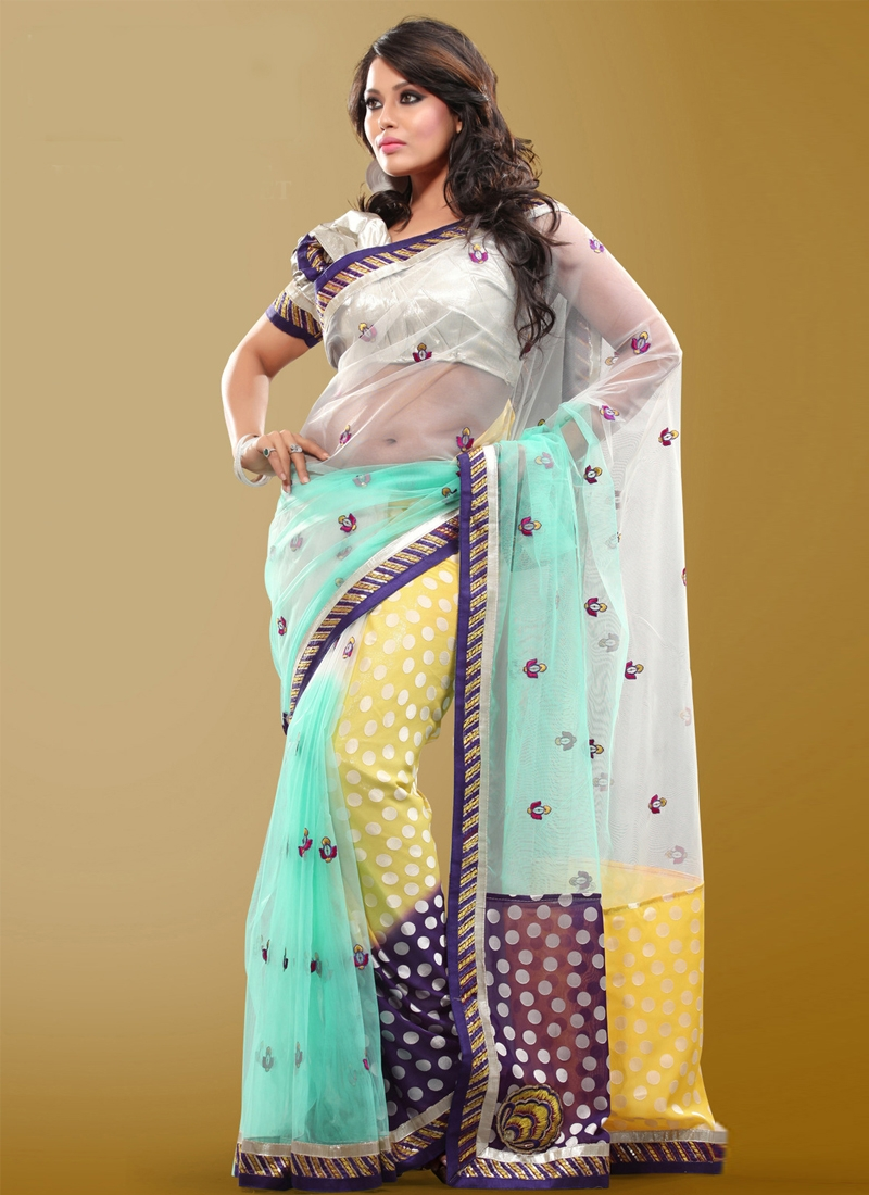 Elite Resham And Lace Work Half N Half Saree