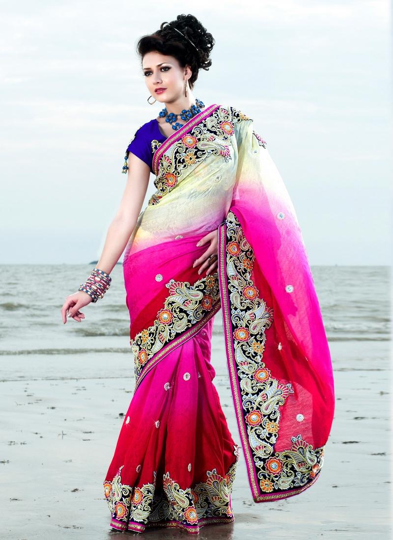 Elite Resham Work Jacquard Designer Saree