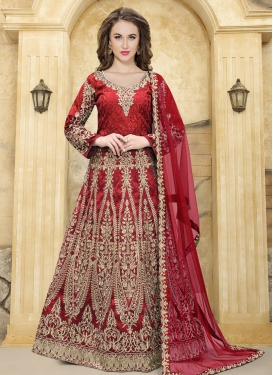 Embroidered Work Anarkali Salwar Suit