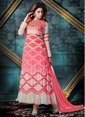 Embroidered Work Ankle Length Designer Suit