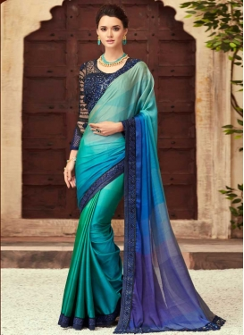 Embroidered Work Aqua Blue and Blue Designer Contemporary Saree