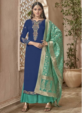 Embroidered Work Aqua Blue and Navy Blue Palazzo Style Pakistani Salwar Kameez