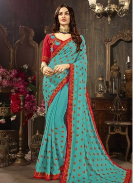 Embroidered Work Aqua Blue and Red Trendy Saree