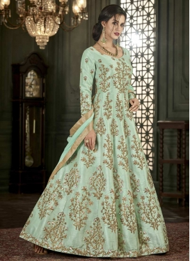 Embroidered Work Art Silk Anarkali Salwar Kameez